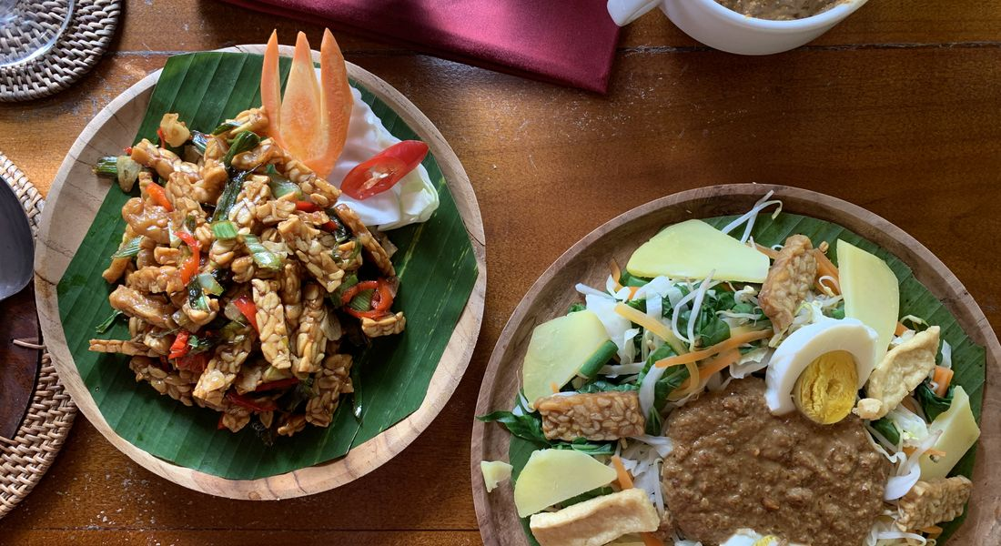 Food cooked at an organic farm in Bali