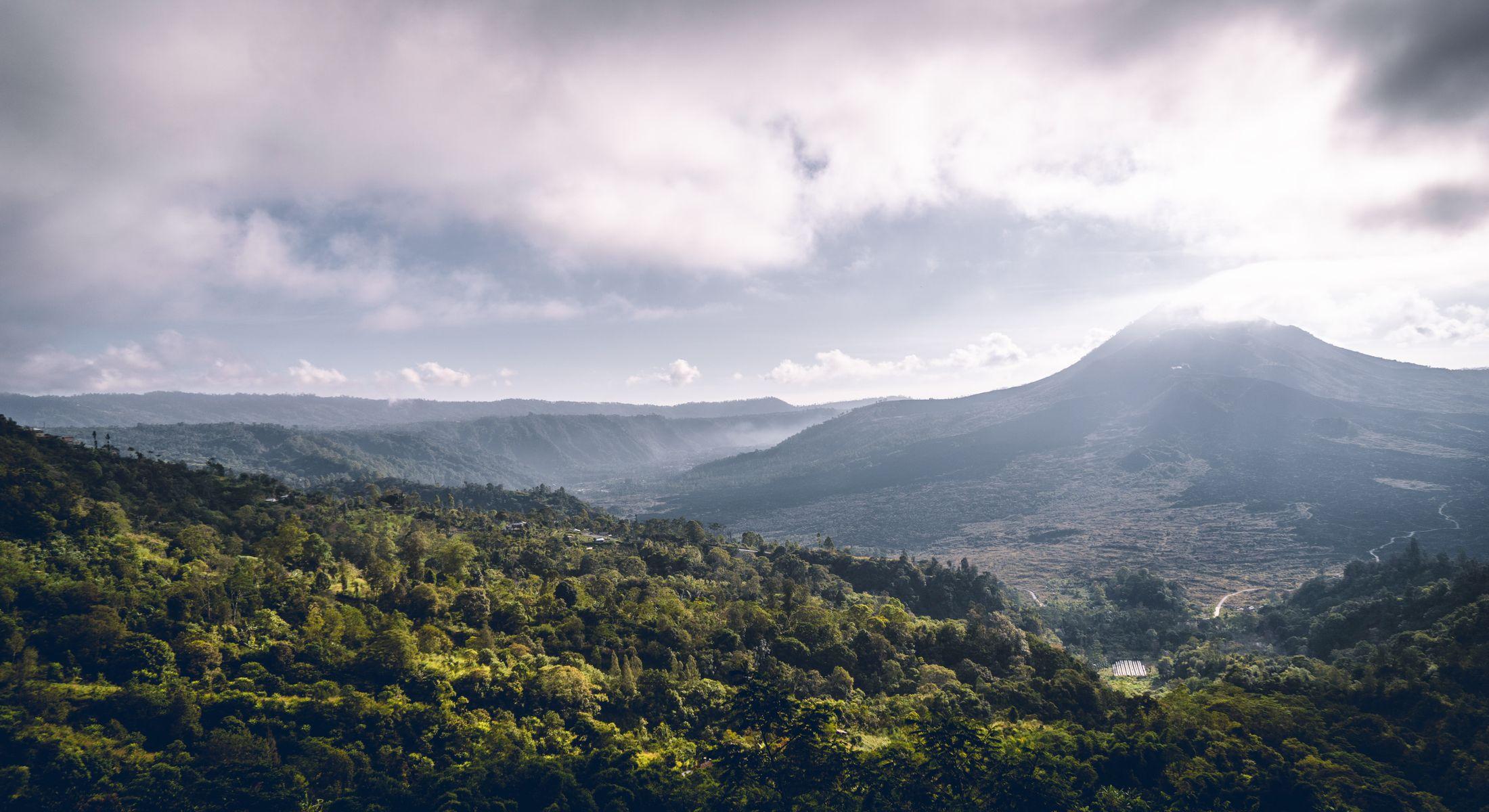 Black lava fields in front of Mount Batur