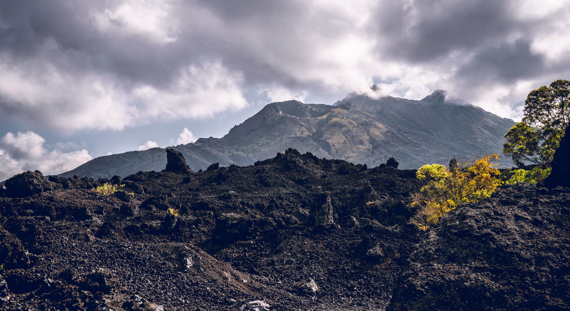 Inside the black lava fields of Mount Batur