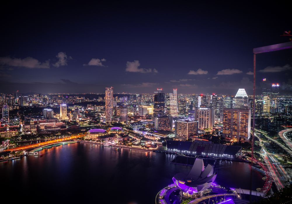 The skyline of Singapore and the largest floating stage