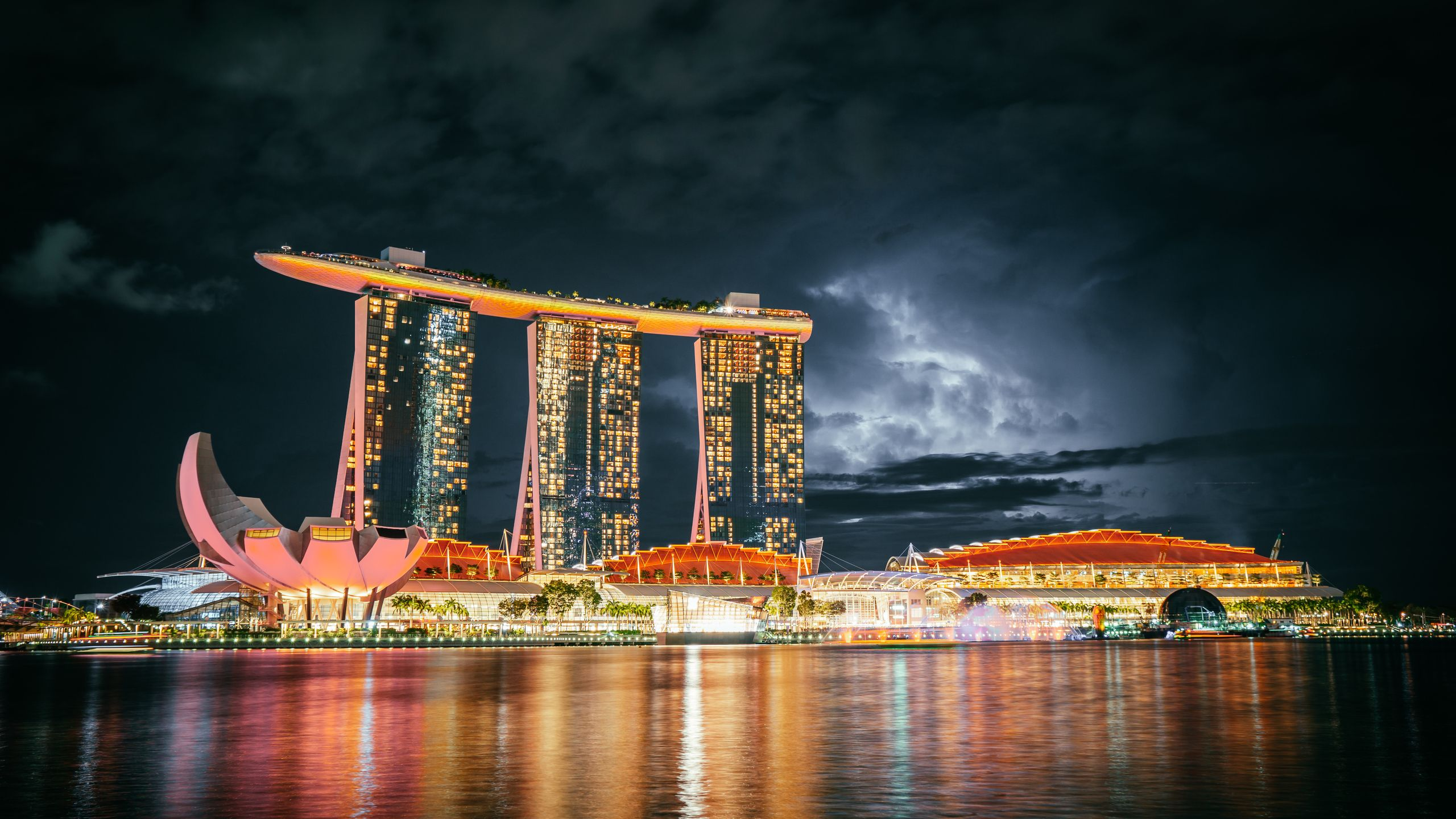 The Marina Bay Sands hotel by night